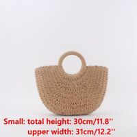 Lady Wicker Handbag Totes Summer Beach Straw Woven Retro Rattan Basket Bag Decor