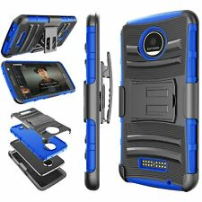 Motorola Moto Z Force Play Droid Case Blue Shockproof Armor Protective Cover NEW