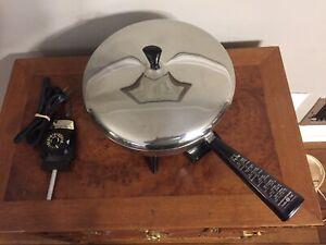 "Vintage Faberware 300B Electric Fry Pan Stainless Steel 12"" Skillet -Excellent!"