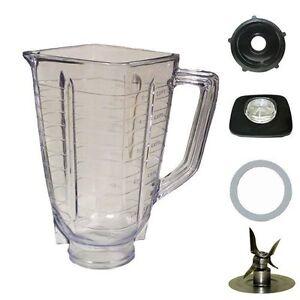 Blenpar 5 Cup Square Top 6 Piece Plastic Jar Replacement Part,Fits Oster Blender