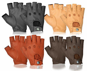Half Finger Driving Gloves Real Lambskin for Van Cars Lorries HGV Motorbikes