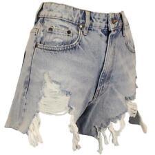 Womens Denim Shorts Hot Pants With Cut Raw Hem - Light Wash