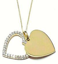 Ladies 9ct Gold Solid Heart & Cubic Zirconia Open Heart Pendant Necklace. 6.4g