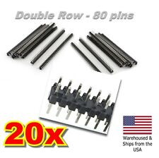 20PCS 80 Pin 2.54mm Double-Row Straight Male Pin Header Strip For PCB Arduino