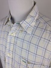 TOMMY HILFIGER GOLF LINEN CHECK SHORT SLEEVE BUTTON SHIRT MENS LARGE WHITE BLUE