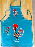 Vintage Vibrant Colors Colorful Hearts Cloth Chicken Hen Rooster Apron