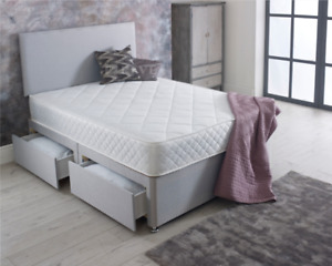 ORTHO DIVAN BED SET WITH MATTRESS AND HEADBOARD 3FT 4FT6 Double 5FT King
