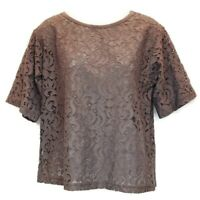Pleione Womens Sz XS Top Lace Taupe Blouse Top Short Sleeve Scoop Neck Brown