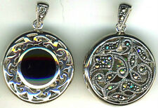 """Locket 925 Sterling Silver Black Onyx & Marcasite Reversible Round 25mm (1"""") dia"""