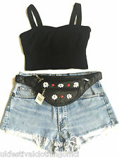 100% Leather Black Bum Bag - Daisy, Flowers, Red Hearts, Studs - Festival, Urban