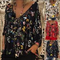 Damen Langarm Bluse Shirts Schmetterling Oberteile Tops Pullover Tunika Boho
