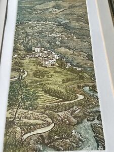 "GLYNN THOMAS LIMITED  Edition ETCHING ""TUSCAN Mt. VILLAGES "" 90/150 Framed"