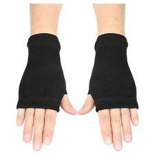 Black Elastic Combed cotton Fingerless Gloves for Women X3C6