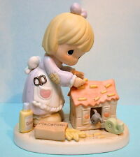 PRECIOUS MOMENTS HOME-MADE OF LOVE ~ GIRL GLUING MACARONI W/  MOUSE  #730211