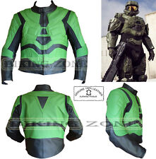 MASTER CHIEF X-BOX STYLE MENS CE ARMOURS MOTORBIKE / MOTORCYCLE LEATHER JACKET