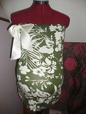 BNWT MATERNITY Green Floral Bow Detail Sleeveless Top/Bube Tube Size Small
