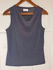 Kaliko Ladies Black Metallic Drop Neck Sleeveless Blouse Tank Top Vest Size 12