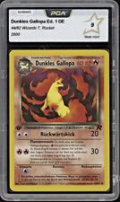 2000 Pokemon DUNKLES GALLOPA - 44/82 - 1. Edition Team Rocket DE PCA 9 (= PSA 9)