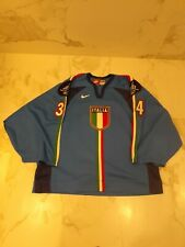 IIHF ITALY GAME WORN USED BLUE JERSEY #34 NOBR 2006 TORINO OLYMPIC PATCHES