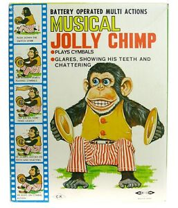 Vintage Daishin Early Musical Jolly Chimp Toy Story Cymbal Monkey w/Box Works