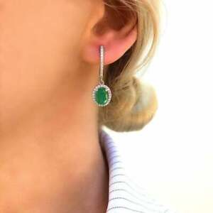 Genuine Natural Emerald Halo Dangle Drop Silver Earrings Silver Jewelry Gift
