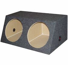 """QPOWER QSMBASS12 Dual 12"""" Inch Sealed Angled Subwoofer Sub Box Speaker Enclosure"""