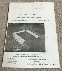 1978 Programme England v The Rest, Twickenham Rugby Union