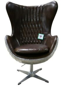 New Aviator Egg Chair Aluminium Shell Retro Industrial Real Distressed Leather