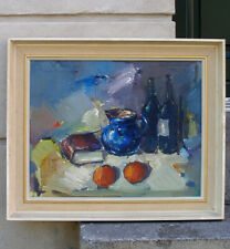 Evan Wulff (1911) Large Still life with jug and oranges. Fine Mid Century Oil.