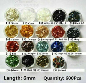 1Pack 600Pcs 2x6mm Glass Bugle Tube Beads For Jewelry Making DIY#