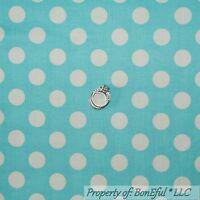 BonEful Fabric FQ Cotton Quilt Light Blue White Large Polka Dot Stripe Tone Girl
