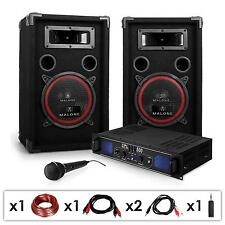 "PACK SONO DJ ACTIF COMPLET DJ-14 AMPLI PA+ 2 ENCEINTES 8"" + MICRO KARAOKE 1000W"