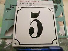 Hausnummer Emaille Nr. 5 schwarze Zahl auf weißem Hintergrund 14cm x 14cm .....