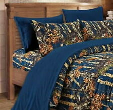 NAVY BLUE CAMO SHEET KING SIZE WOODS CAMO BEDDING 6 SET CAMOUFLAGE FLAT FITTED