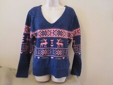 NWOT Betsey Johnson Blue w/Pink Snowflakes Reindeer V-neck Chenille Sweater Sz L