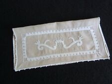 Antique Vintage French Hand Embroidered LINEN GLOVE KEEPER or Hankie Pouch