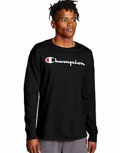 Champion Long-Sleeve Tee T-Shirt Men's Athletics Classic Script Logo Authentic