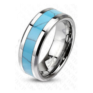 BAGUE TUNGSTENE HOMME OU FEMME TURQUOISE