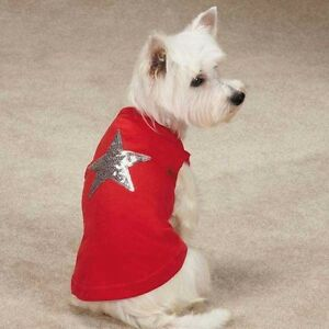Zack & Zoey America's Pup DOG Sequin Star Tank Patriotic T Shirt RED Size:LARGE