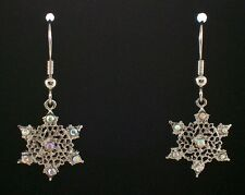 NEW Snowflake Wire Earrings Clear AB Swarovski Crystals Silver Plate Holiday