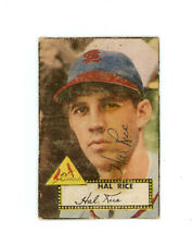 HAL RICE signed 1952 TOPPS baseball card #398 CARDINALS