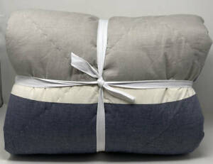 Pottery Barn Teen Beachstone Stripe FULL / QUEEN Comforter / Quilt ~ Gray Multi
