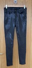 ALL SAINTS JEANS BLACK COATED SKINNY ANKLE ZIP WAIST 25