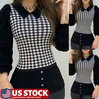 Women Bodycon Plaid Patchwork Tops Shirt Long Sleeve Blouse Slim Lapel T Shirt