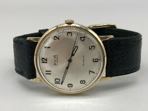 Vintage 9k 9ct Solid Gold Avia Mens Swiss Watch