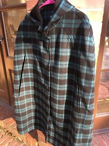 Kate Spade Saturday Cape XS/S Plaid Teal And Black Preowned
