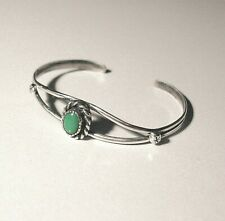 Vintage Navajo Sterling Silver Turquoise Petite Child's Cuff Bracelet