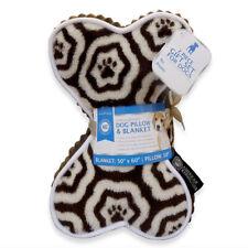 AKC Fleece Dog Pillow & Blanket Holiday Gift Set - Brown