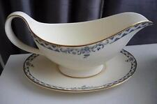 Royal Doulton Josephine Smooth Gold Trim Gravy Boat & Stand H5235 - Mint Condtn