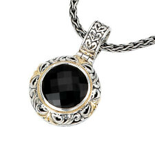 NEW 18K GOLD & STERLING SILVER .925 BLACK ONYX ROUND FACETED HEART CHARM PENDANT